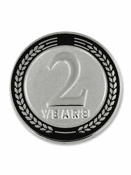Pinmart's 2 Years Of Service Award Employee Recognition Gift Lapel Pin - Black