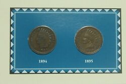 1894 And 1895 Indian Head Penny With 1986 Navajo Blanket Art Stamps - 2 Coins
