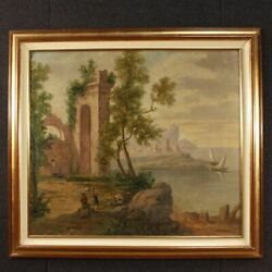 Painting Landscape Oil On Canvas Seascape Ruins Characters Antique Style 900