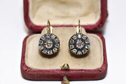 Antique Russian Style My Design 14k Gold Natural Diamond Decorated Earring