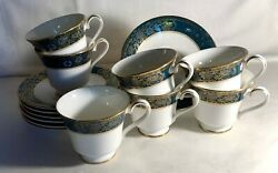 7 Royal Doulton Carlyle Footed Cups And Saucers