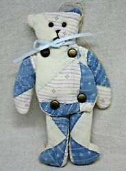 Hand Sewn Quilted Teddy Bear Ornament Jointed With Brad Fasteners J246