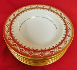 Minton Co. New York Rimmed Raised Gold Encrusted Soup Bowls - Set Of 4