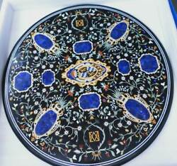 4and039x4and039 Antique Black Marble Dining Center Table Top Pietra Dura Stone Decor Inlay