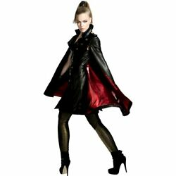 Black Leather Womens Cape Inspired By Trench Coat Mac