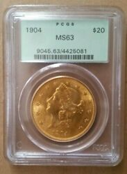 1904 20 Gold Liberty Double Eagle Pcgs Ms63 In An Ogh Old Green Holder