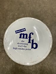 Vintage Mfb Shortening Tin Can Metal Lid Cover, Home Decor, Wall Art, 16 Inch
