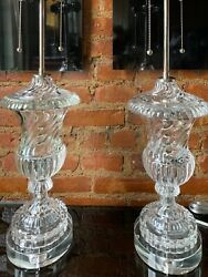 Pair Baccarat Style Crystal Swirl Glass Mid Century Modern Table Lamps Vintage