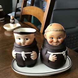 Goebel Porcelain Monks From West Germany Late 1950-early 1960