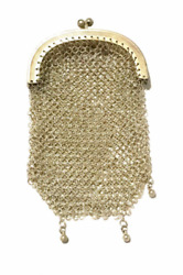 Antique French Silver Mesh Chatelaine Coin Purse 24.8 Grams