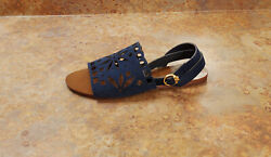 New And039mayand039 Perforated Ankle Strap Sandals Navy Blue 10 M Msrp 298