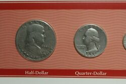1951 Coin Set - D Quarter Nickel And Penny /p Ben Franklin And Dime - See Photos
