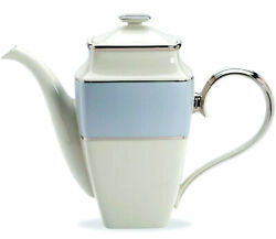 Lenox Blue Frost Coffee Pot Square Platinum Banded Ivory China 277 New