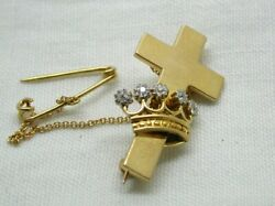 Antique Victorian Beautiful 18 Carat Gold And Diamond Cross And Crown Brooch