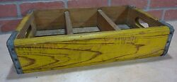 Drink Coca-cola Orig Old Wooden Case Box Yellow Red Coke Soda Ad Sign Crate