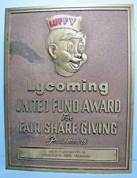 1963 Luffy Lycoming United Fun Award Pickeiner Coal Company Plaque Ad Sign