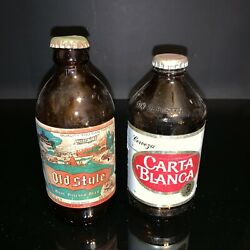 Vintage Carta Blanca Old Style Beer Bottle Paper Labels With Caps Man Cave Pair