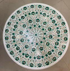 3' White Center Marble Coffee Table Top Pietra Dure Art Blue Stones Inlay