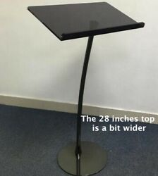 Extra Wide 28 Inch Black And Beautiful Acrylic Steel Arc Lectern Pulpit.