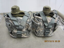 Qty. 2 Molle Ii Canteen Pouch Acu Good Condition Dirty Free Ship No Canteens
