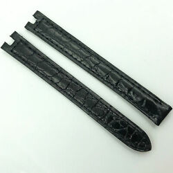 Authentic 11mm Black Leather Strap For Deployant Clasp 7dgbac0