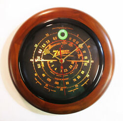 Old Antique Style Zenith Black Dial Wood Wall Clock Vintage Tube Radio Style