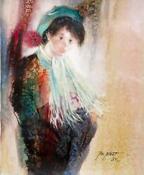 Paul Noiret Boy In Scarf Oil On Canvas Signed And Dated L.r