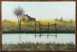 Unknown Artist Lakeside Barn In Early Spring Oil On Canvas Signed And039girardand039 An