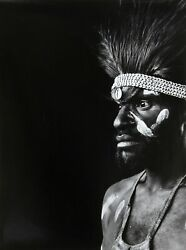 Gerald Forster Warrior In Papua New Guinea Gelatin Siver Print Photograph Si