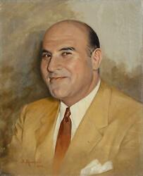 S. Rosefield Portrait Of A Bald Man In Suit Oil On Canvas Signed And Dated L