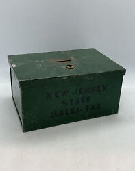 """Vintage Metal Coin Bank / Green Metal Box """" New Jersey State Sales Tax"""" 6x4x3"""""""