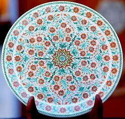 14 Antique Marble-round-serving Table Use Plate Makrana Mosaic Inlay Decor Art