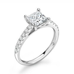 Diamond Solitaire Engagement Ring Shoulder Set 0.45cts G-si1 Gia Certificate