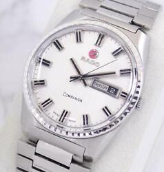 Rado Companiom 1970and039s Mechanical Automatic Silver Day Date Menand039s Watch Wl7574
