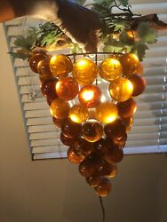 Lucite Grape Cluster Lamp - Vintage 1960and039s - Amber