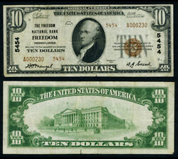 Freedom Pa 10 1929 T-2 National Bank Note Ch 5454 Freedom Nb Very Fine