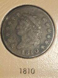 1810 Classic Head Large Cent Solid Vf Rare