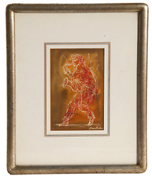 Charles Burdick Saxophone Player Ink And Watercolor Signed Lower Right