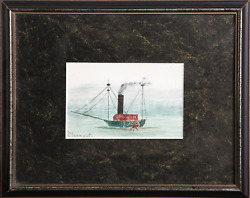 Unknown Artist Clermont Tugboat Acrylic Gouache And Collage On Paper Sign