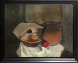 Jacob Friedland, Still Life With Book, Oil On Canvas, Signed