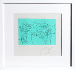 Peter Max, Profile, Heart And Vase, Etching With Chine Colle, Signed And Numbere