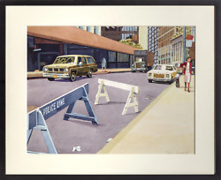 Don David, Police Line, Watercolor On Paper, Signed