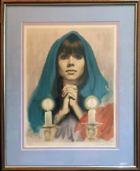 Sandu Liberman, Shabbas Candles Teal, Lithograph, Signed And Numbered In Penci