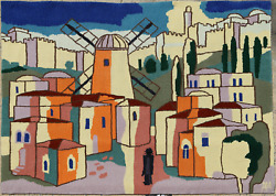 Unknown Artist, Village With Windmill, Woolen Tapestry, Signed A.m. L.r.