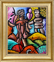 George Chemeche, Two Figures No. 1, Oil On Canvas, Signed U.r.