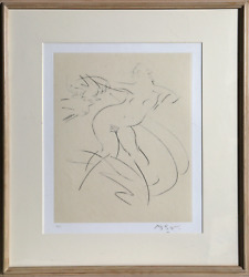 Reuben Nakian, Nymph And Goat 4 Black From Myths And Legends, Drypoint Etching