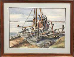 John W. Burgess Fishing Boat Tempera And Watercolor On Paper Signed L.r.
