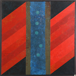 Dan Teis, The River, Acrylic And Paper Collage On Canvas, Signed And Dated L.r.