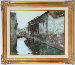 Xue Jian Xin, Boat In Village Canal, Oil On Canvas, Signed L.r.