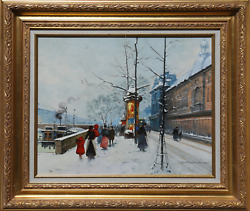 Louis Dancourt, Along The Seine, Oil On Canvas Mounted To Wood, Signed L.r. And